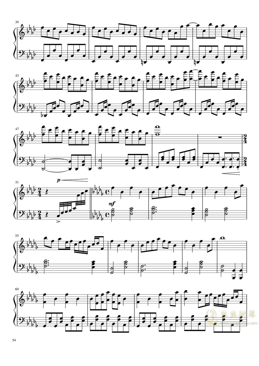 【东方project】永夜抄全曲钢琴谱 第54页