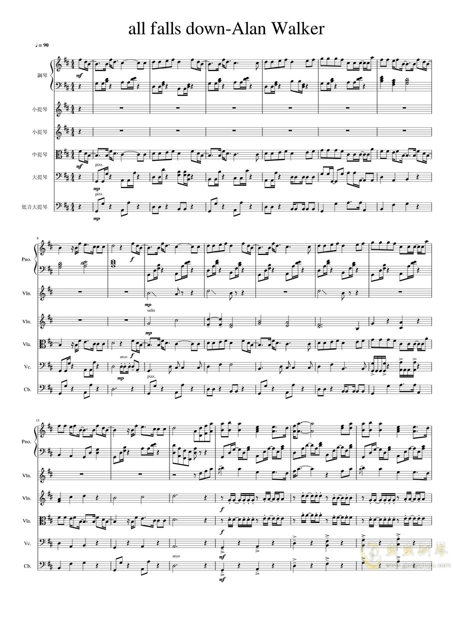 all falls down钢琴谱 第1页