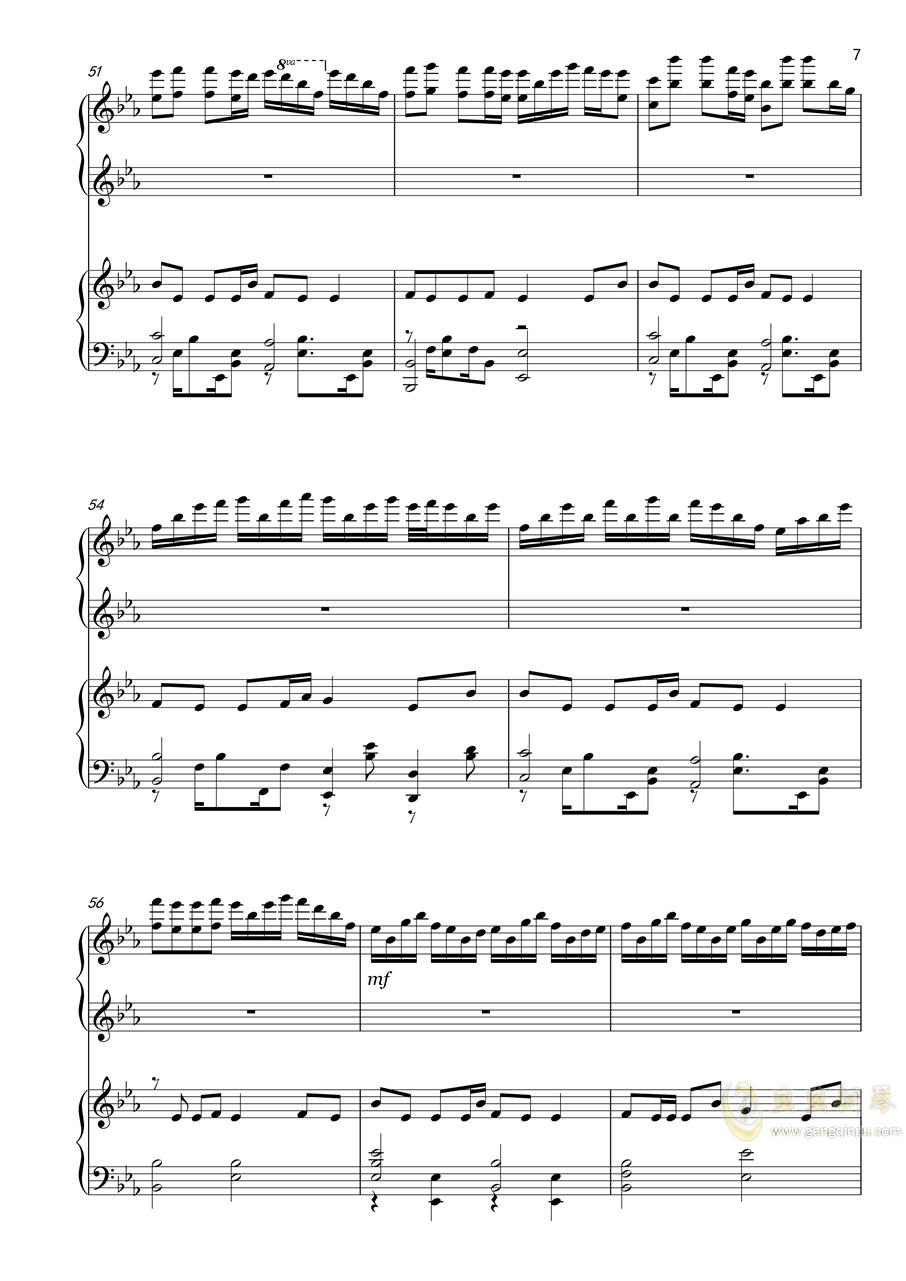 勾指起誓(四手联弹)钢琴谱 第7页