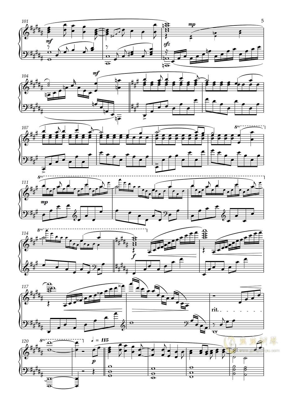【Animenz】Owari no Sekai Kara 终焉的世界钢琴谱 第5页