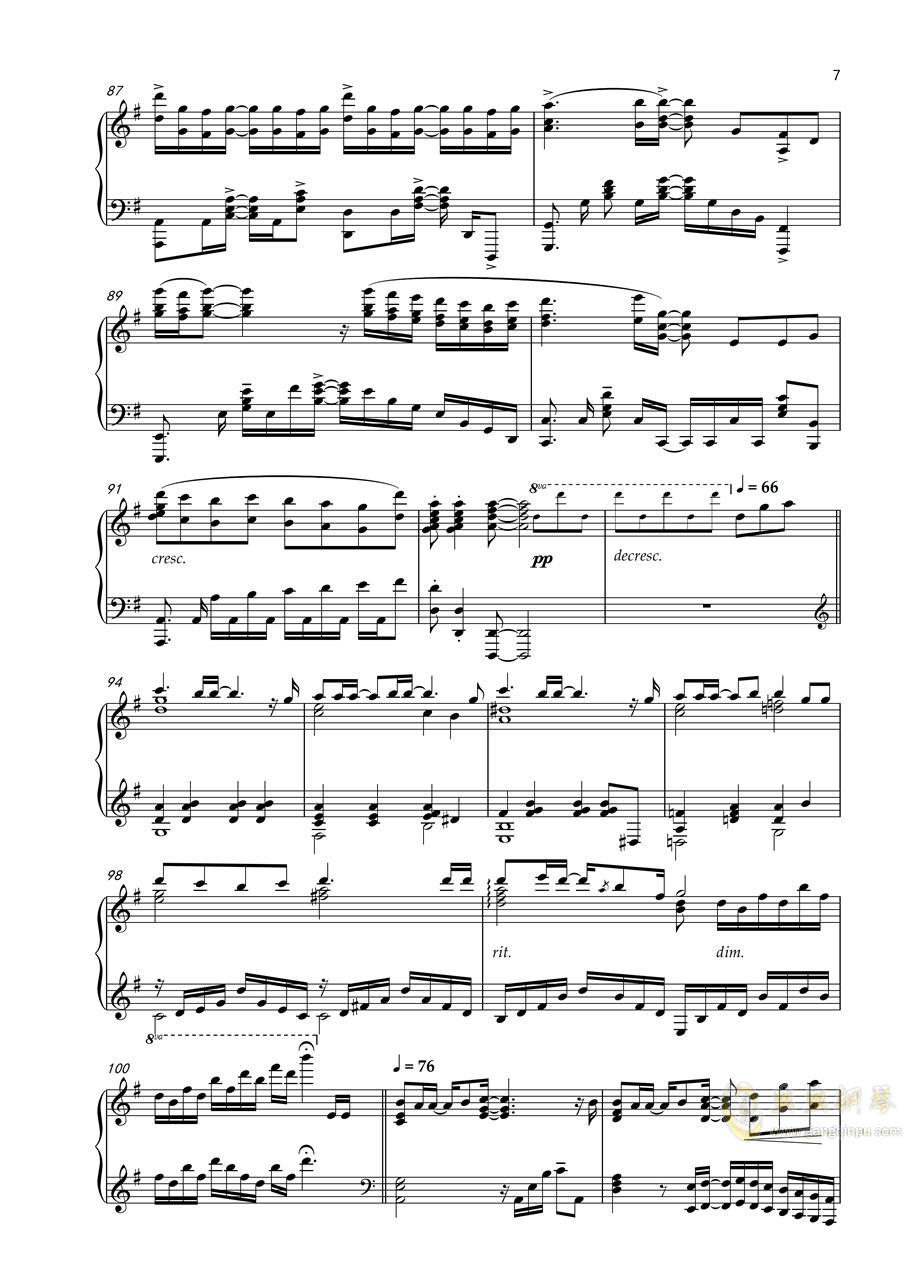 【Harmonic Studio】Orange - Shigatsu wa Kimi no Uso ED 四月是你的谎言钢琴谱 第7页