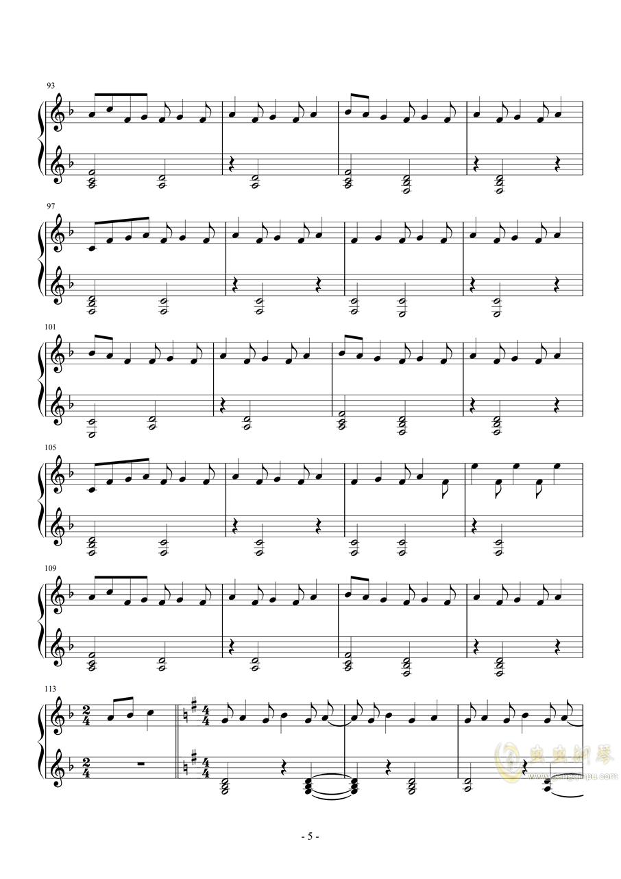 实现钢琴谱 第5页