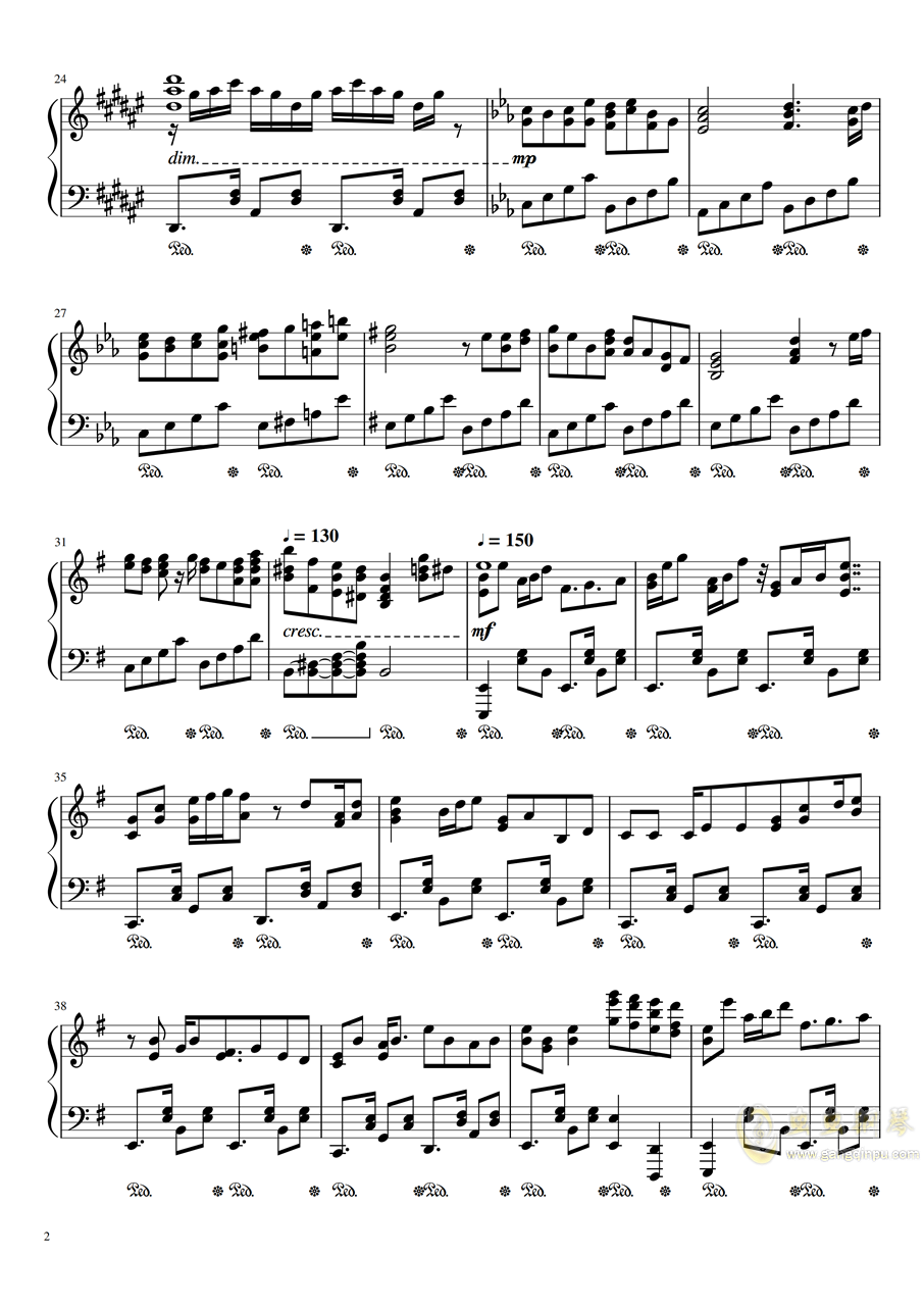 【妖精大战争】可爱的大战争叠奏曲 可�郅ご�檎�のリフレ�`ン钢琴谱 第2页
