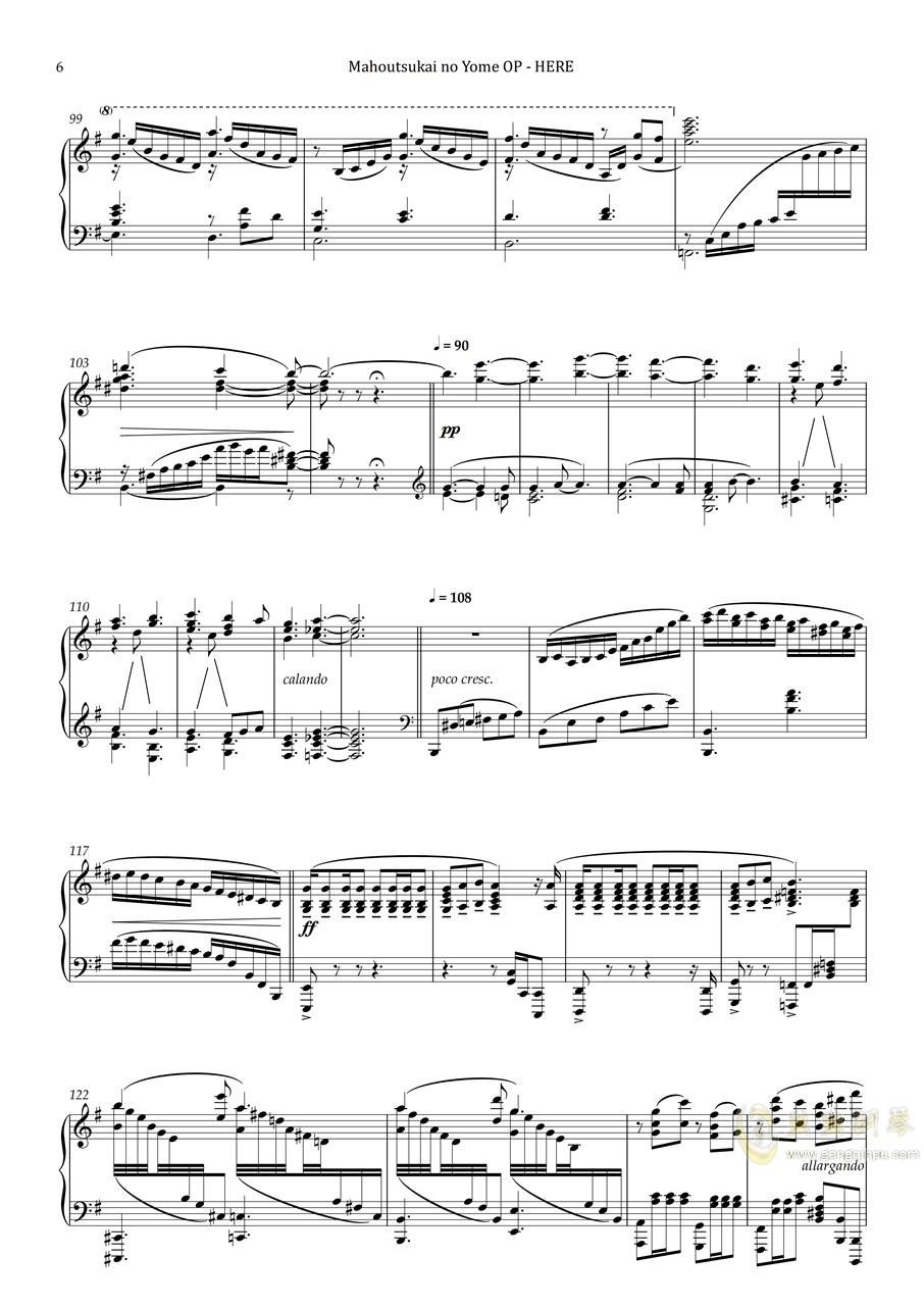 【Animenz】HERE - Mahoutsukai no Yome OP 魔法使的新娘钢琴谱 第6页