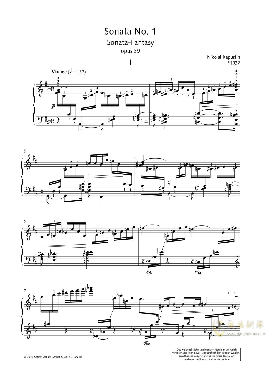 第一钢琴奏鸣曲「幻想」 第一乐章 op 39钢琴谱 第1页