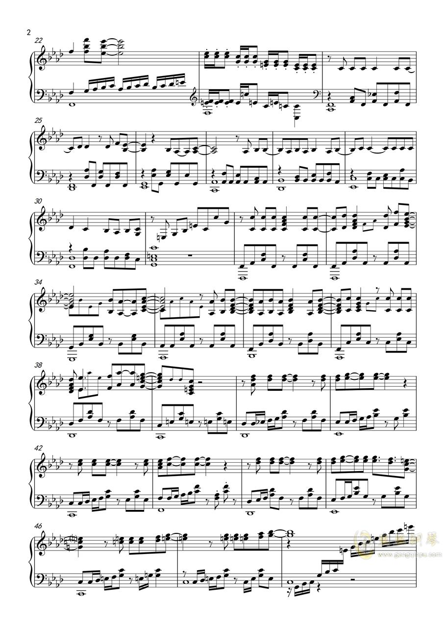 Derringer - 猫眼三姐妹第二部OP钢琴谱 第2页