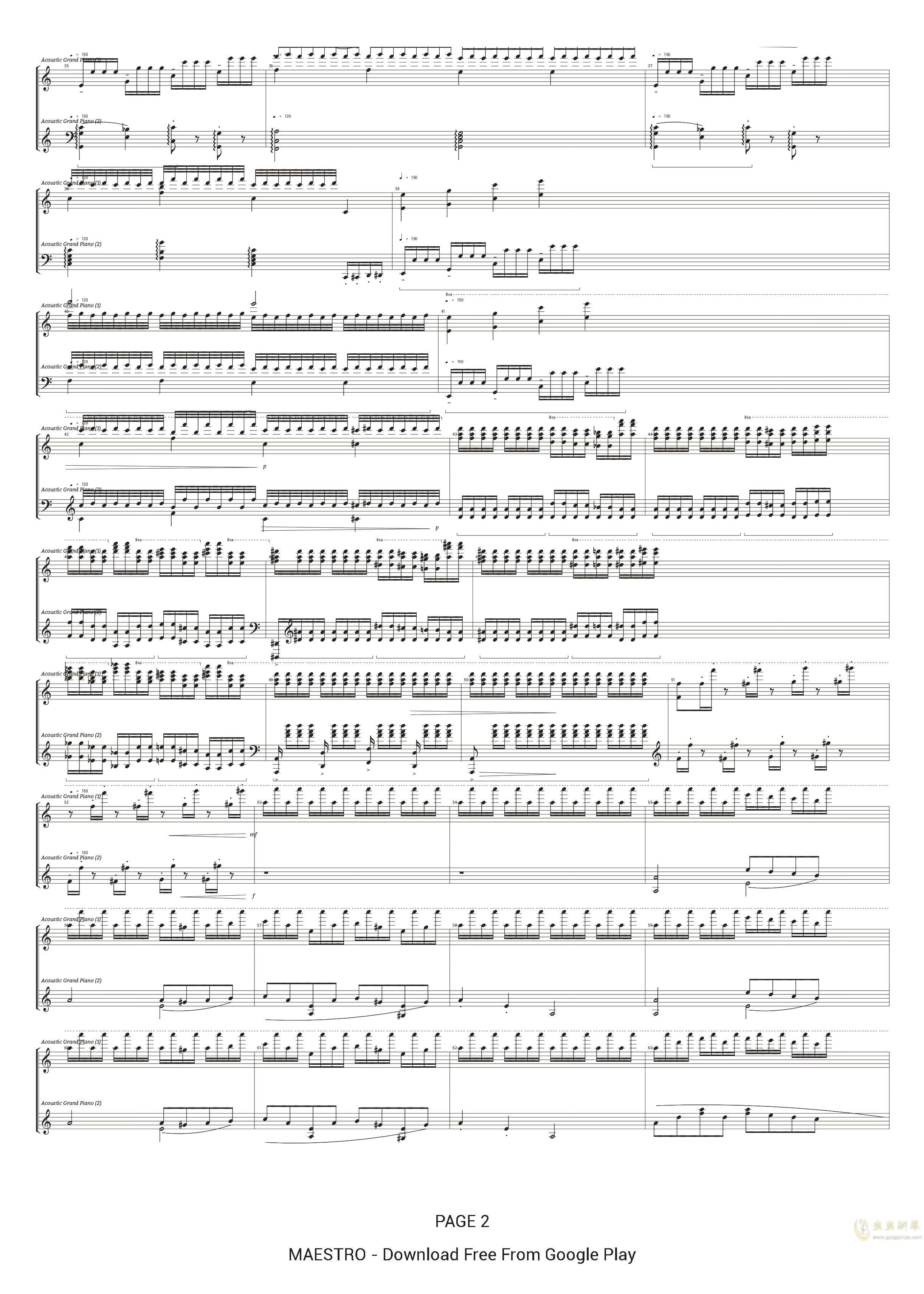 为钢琴而作的大练习曲 No.5钢琴谱 第2页