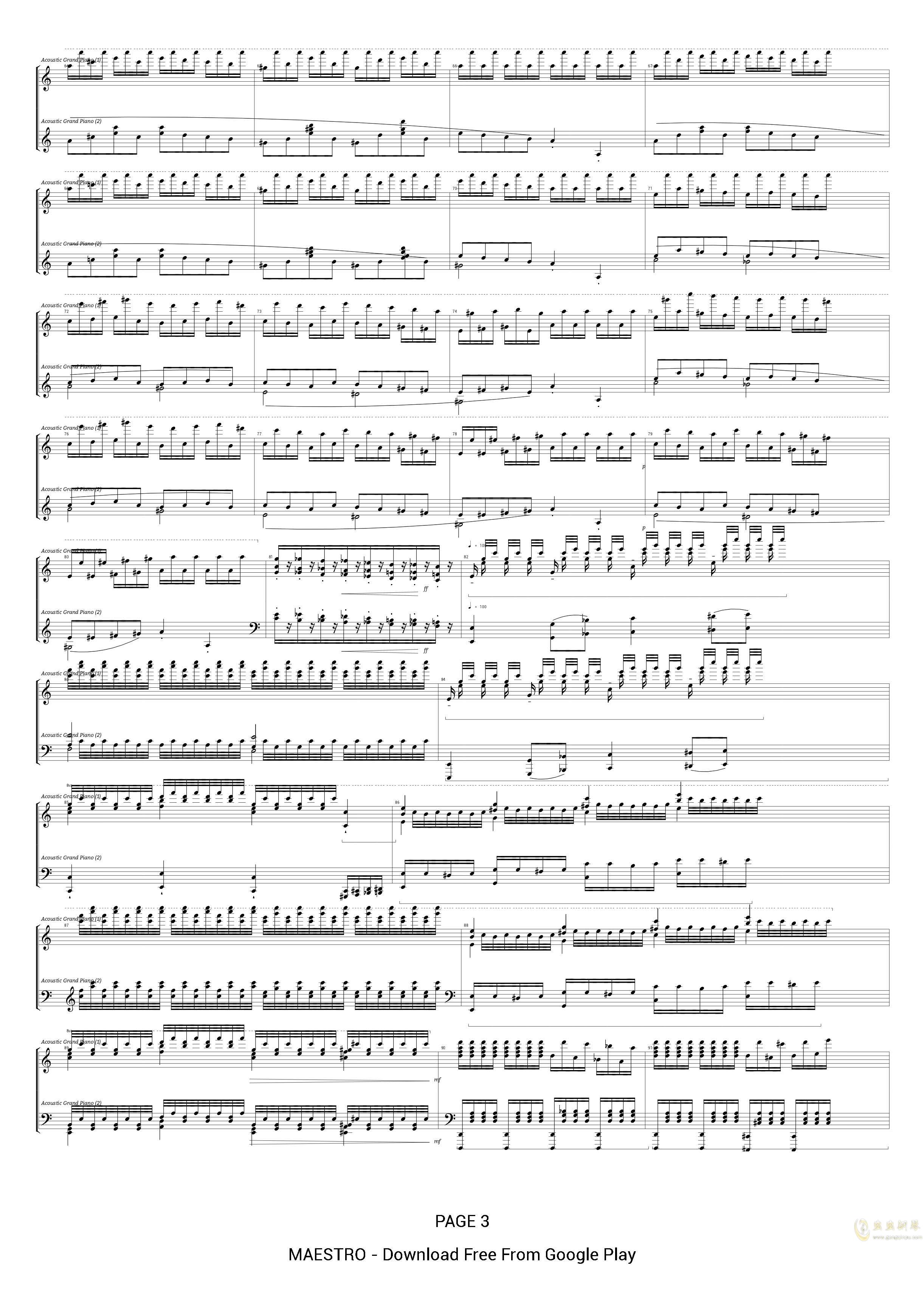 为钢琴而作的大练习曲 No.5钢琴谱 第3页