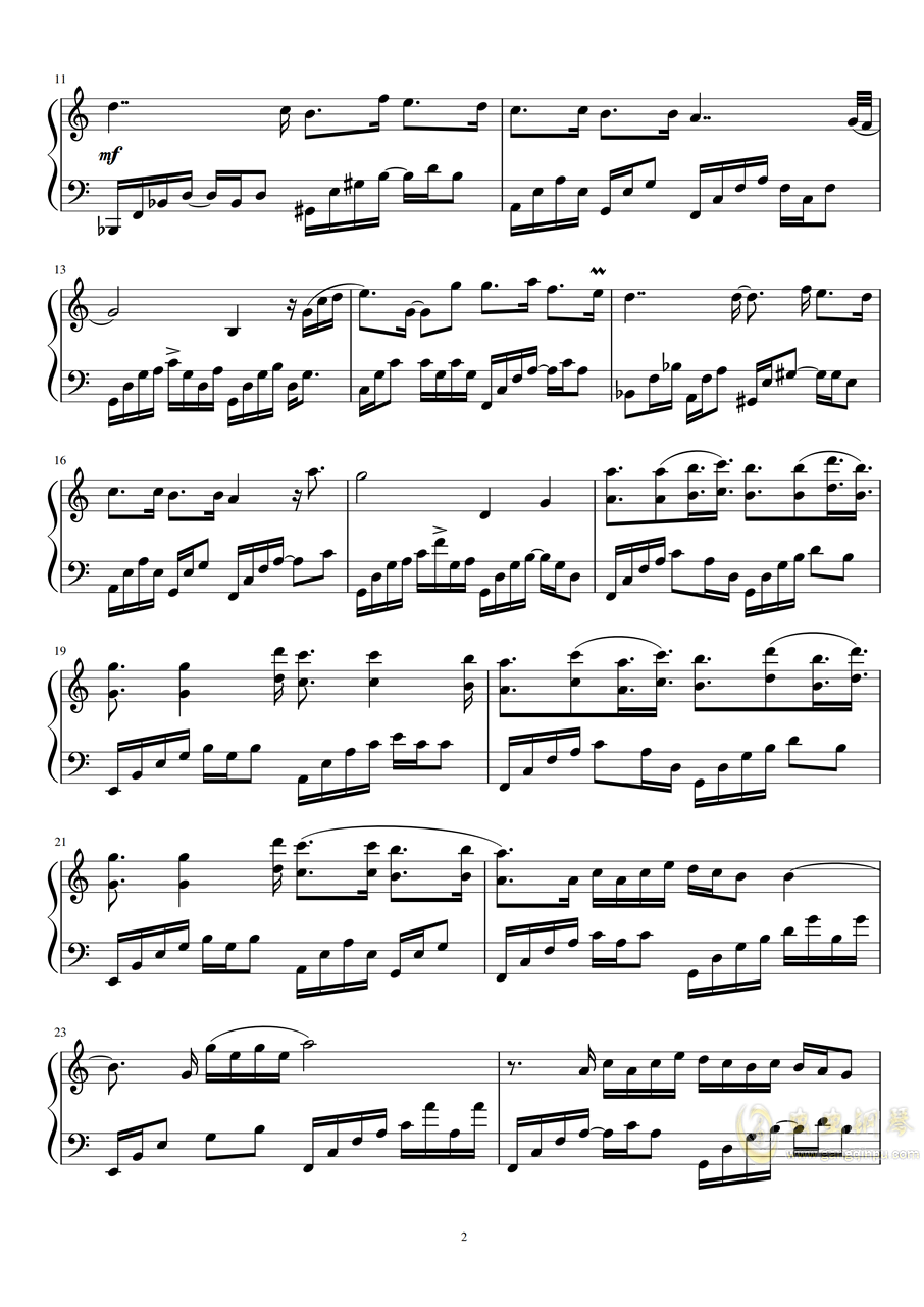 Fragments of stars钢琴谱 第2页