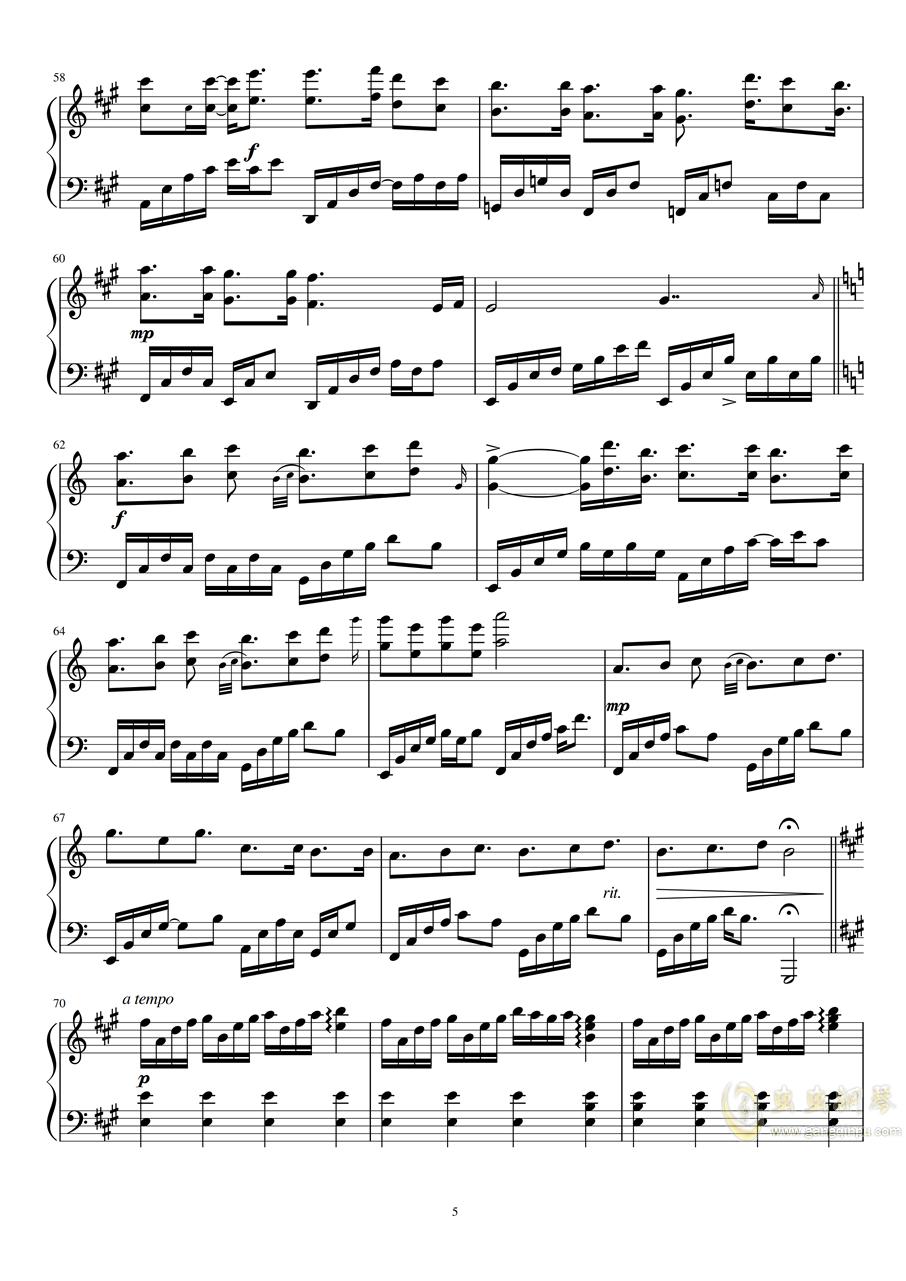 Fragments of stars钢琴谱 第5页