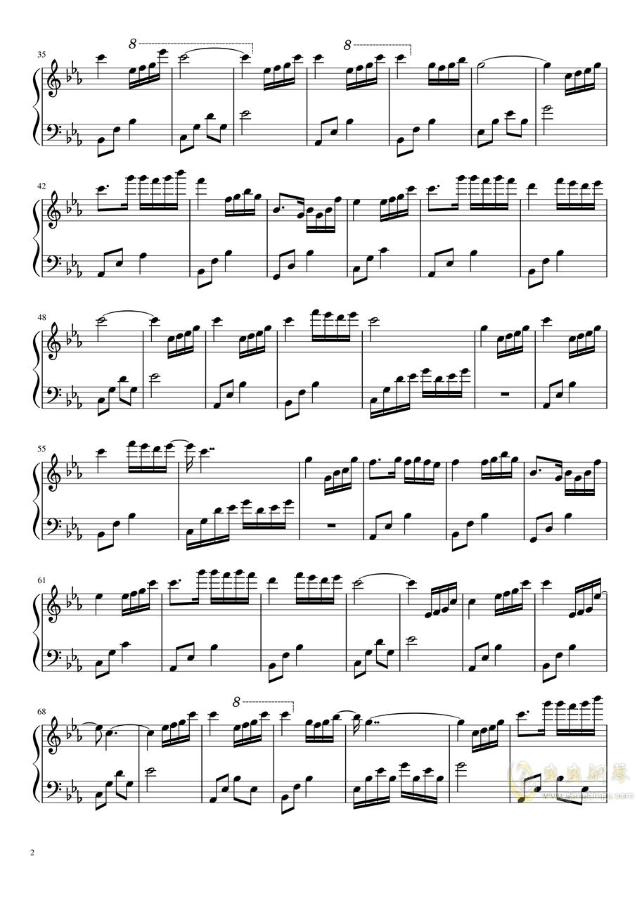 夜的钢琴曲五-BiBiPiano版钢琴谱 第2页