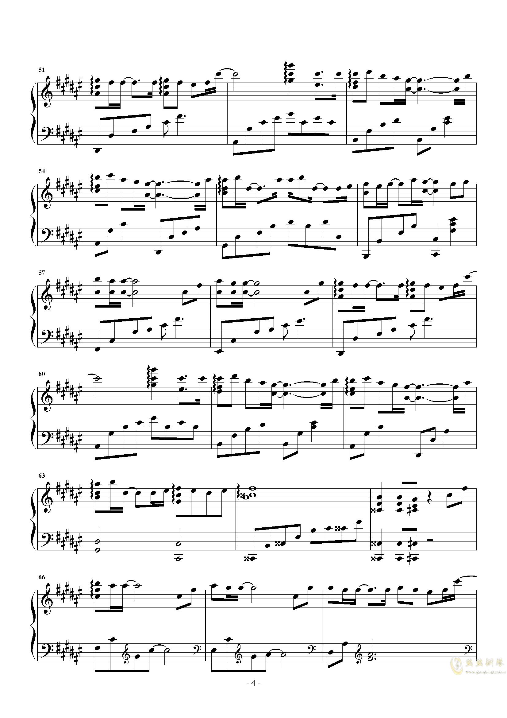 愿得一心人钢琴谱 第4页