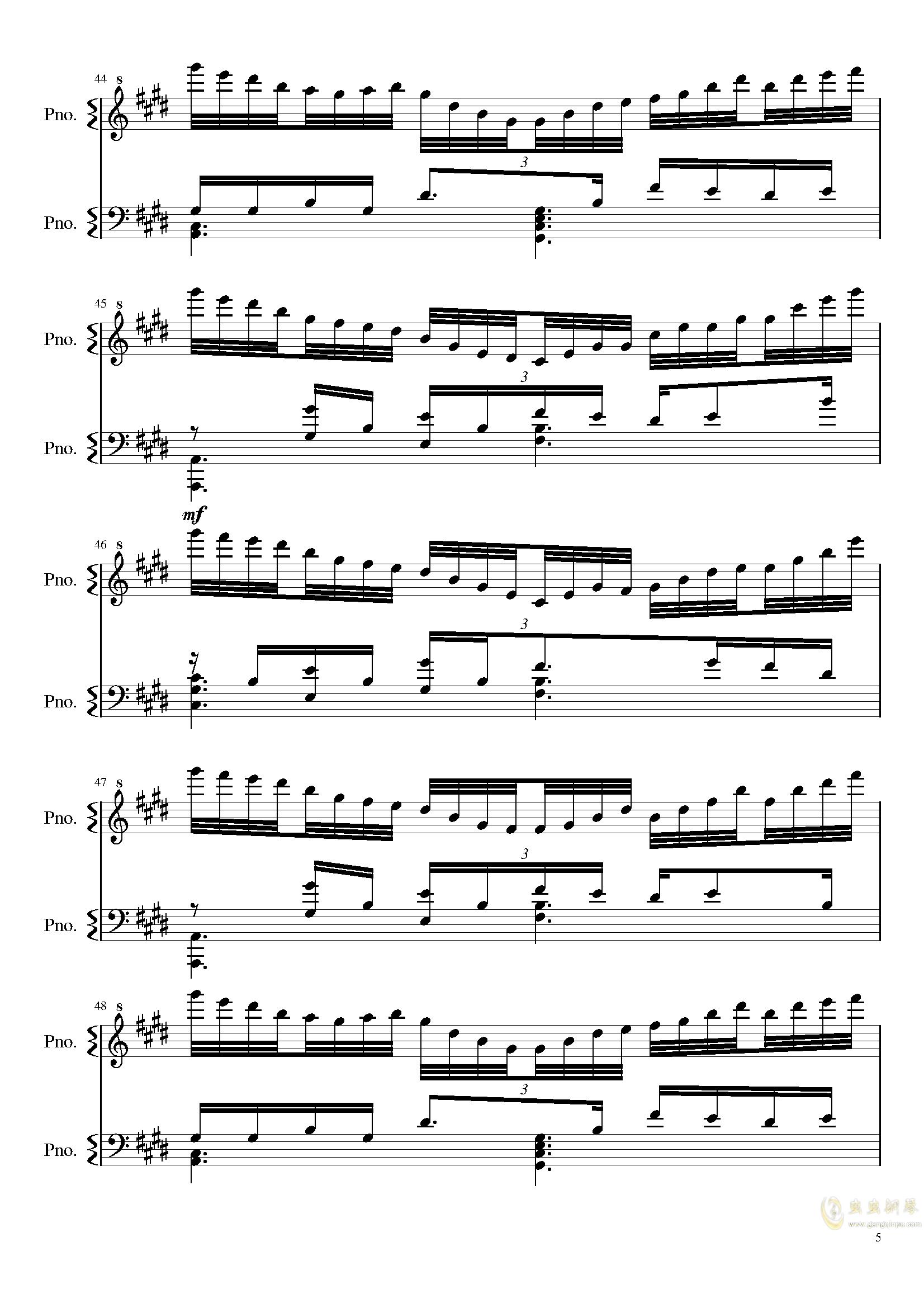 星と夜と静かな湖钢琴谱 第5页