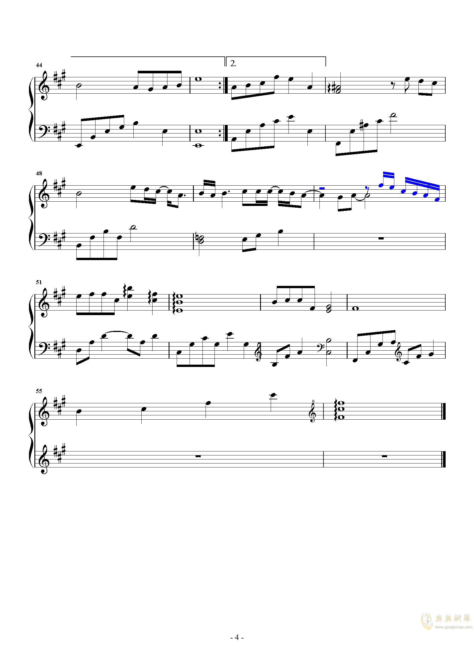 伤隐钢琴谱 第4页