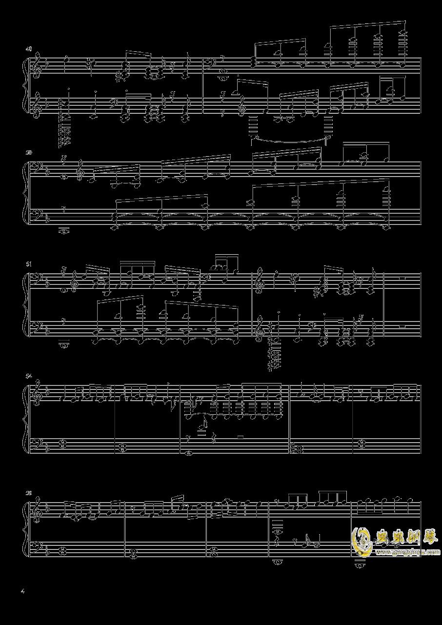 静かと怒りの海钢琴谱 第4页