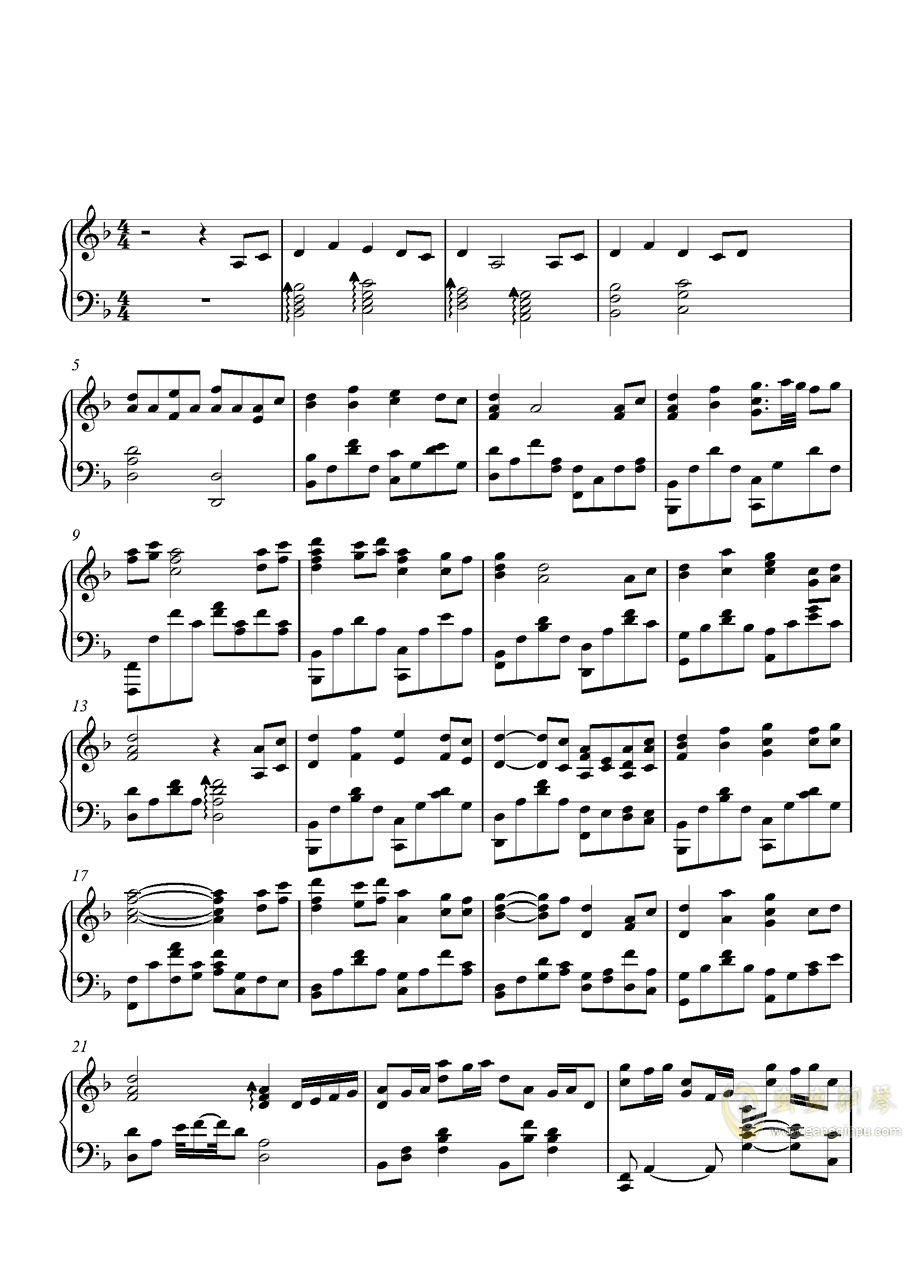 茜云钢琴谱 第1页