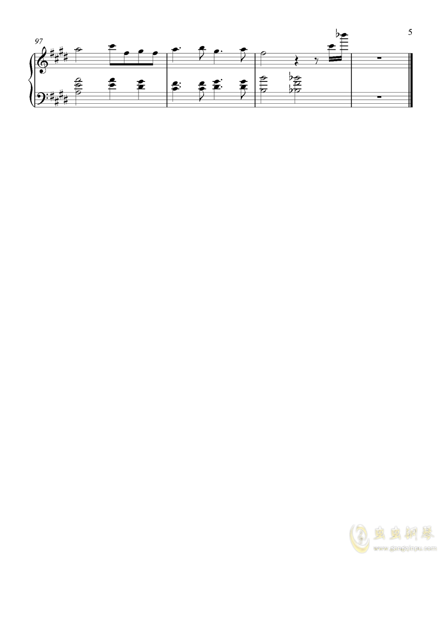 双向倾诉钢琴谱 第5页