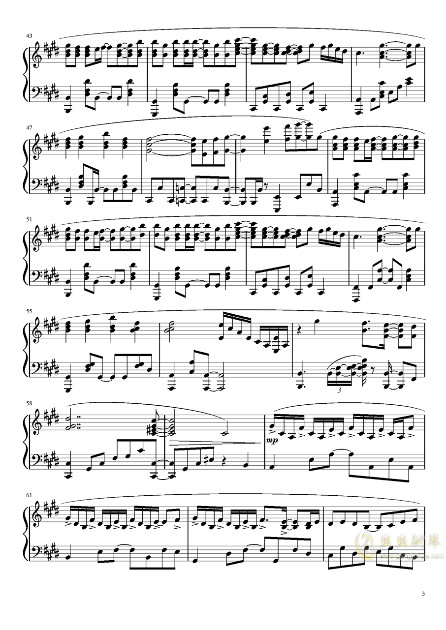 Suzumiya Haruhi no Yuutsu OST钢琴谱 第3页