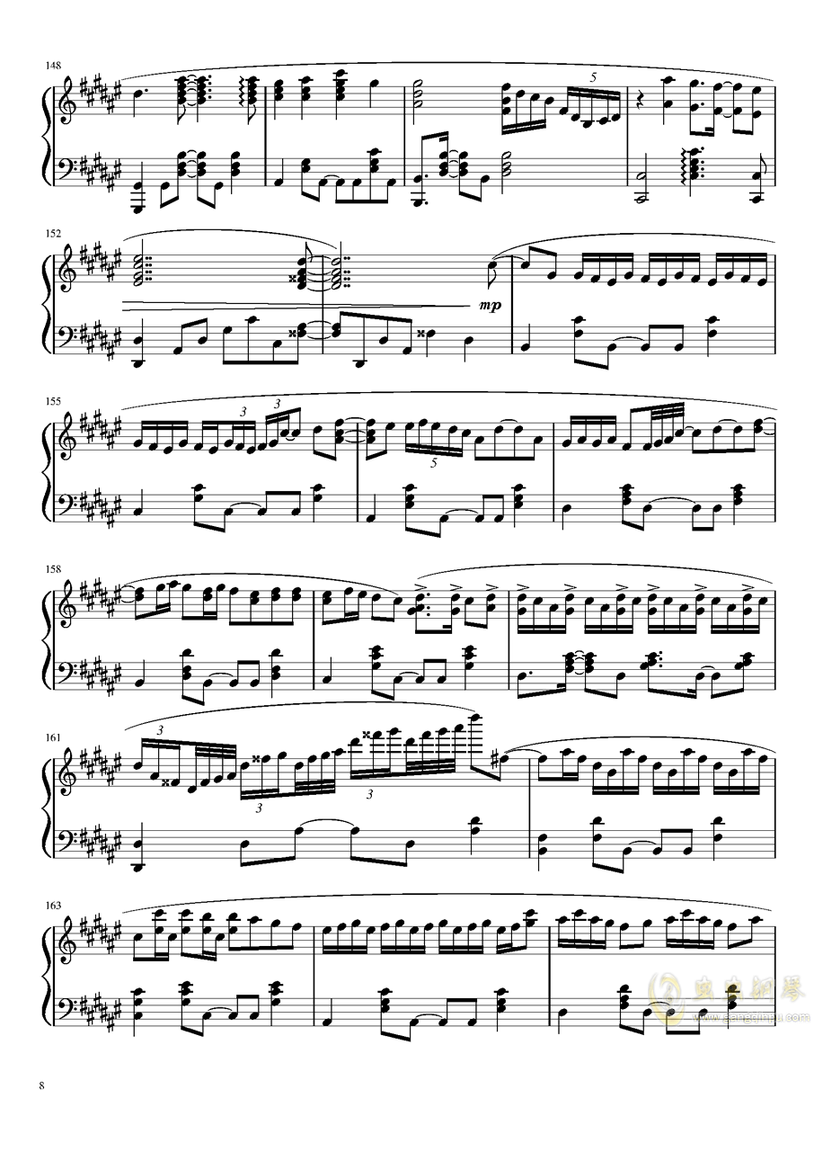Suzumiya Haruhi no Yuutsu OST钢琴谱 第8页