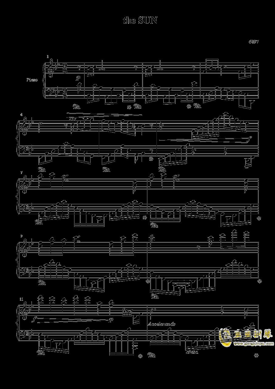 太阳钢琴谱 第1页